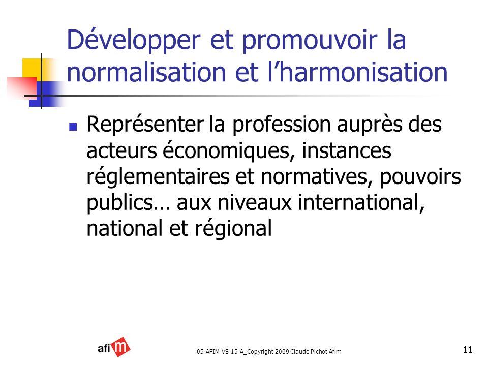05-AFIM-VS-15-A_Copyright 2009 Claude Pichot Afim 11 Développer et promouvoir la normalisation et lharmonisation Représenter la profession auprès des