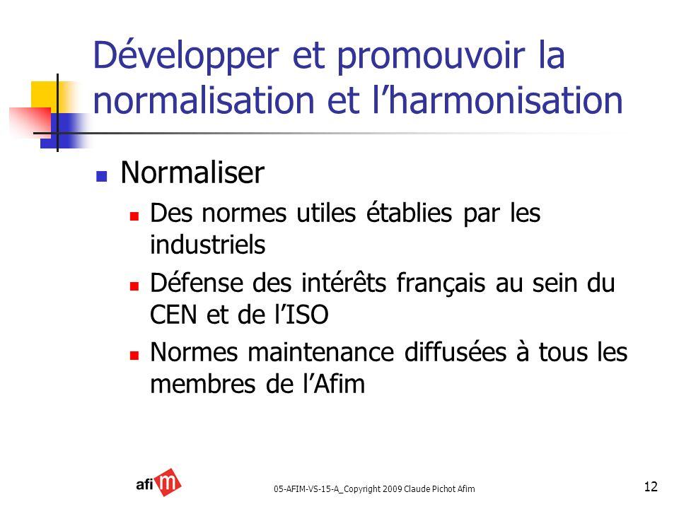 05-AFIM-VS-15-A_Copyright 2009 Claude Pichot Afim 12 Développer et promouvoir la normalisation et lharmonisation Normaliser Des normes utiles établies