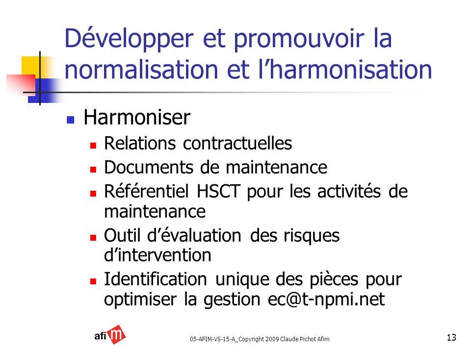 05-AFIM-VS-15-A_Copyright 2009 Claude Pichot Afim 13 Développer et promouvoir la normalisation et lharmonisation Harmoniser Relations contractuelles D