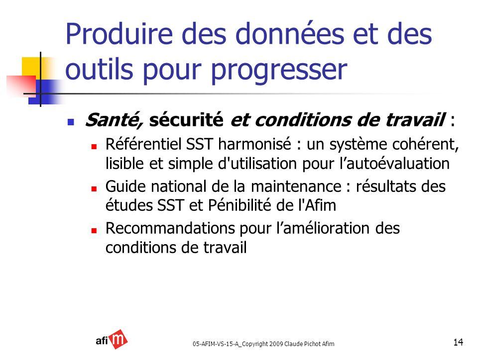 05-AFIM-VS-15-A_Copyright 2009 Claude Pichot Afim 14 Produire des données et des outils pour progresser Santé, sécurité et conditions de travail : Réf