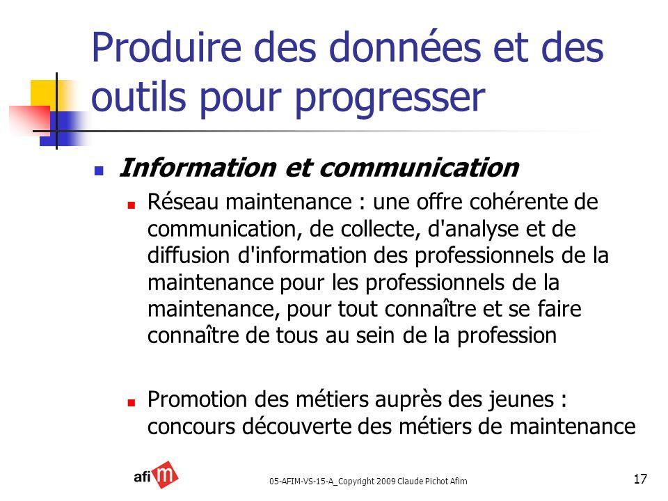 05-AFIM-VS-15-A_Copyright 2009 Claude Pichot Afim 17 Produire des données et des outils pour progresser Information et communication Réseau maintenanc