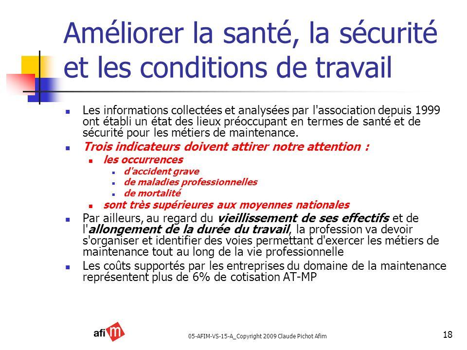 05-AFIM-VS-15-A_Copyright 2009 Claude Pichot Afim 18 Améliorer la santé, la sécurité et les conditions de travail Les informations collectées et analy