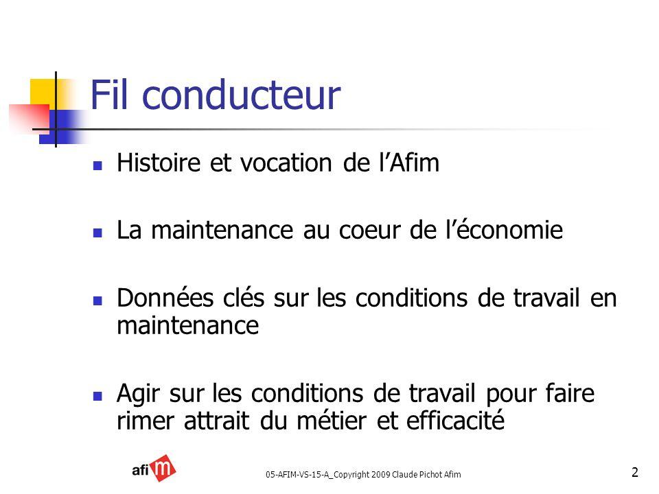 05-AFIM-VS-15-A_Copyright 2009 Claude Pichot Afim 2 Fil conducteur Histoire et vocation de lAfim La maintenance au coeur de léconomie Données clés sur