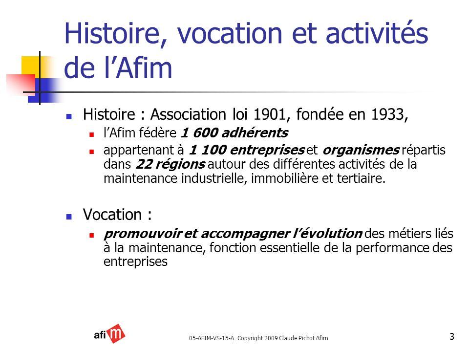 05-AFIM-VS-15-A_Copyright 2009 Claude Pichot Afim 3 Histoire, vocation et activités de lAfim Histoire : Association loi 1901, fondée en 1933, lAfim fé