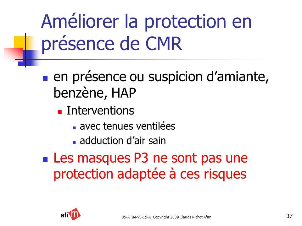 05-AFIM-VS-15-A_Copyright 2009 Claude Pichot Afim 37 Améliorer la protection en présence de CMR en présence ou suspicion damiante, benzène, HAP Interv