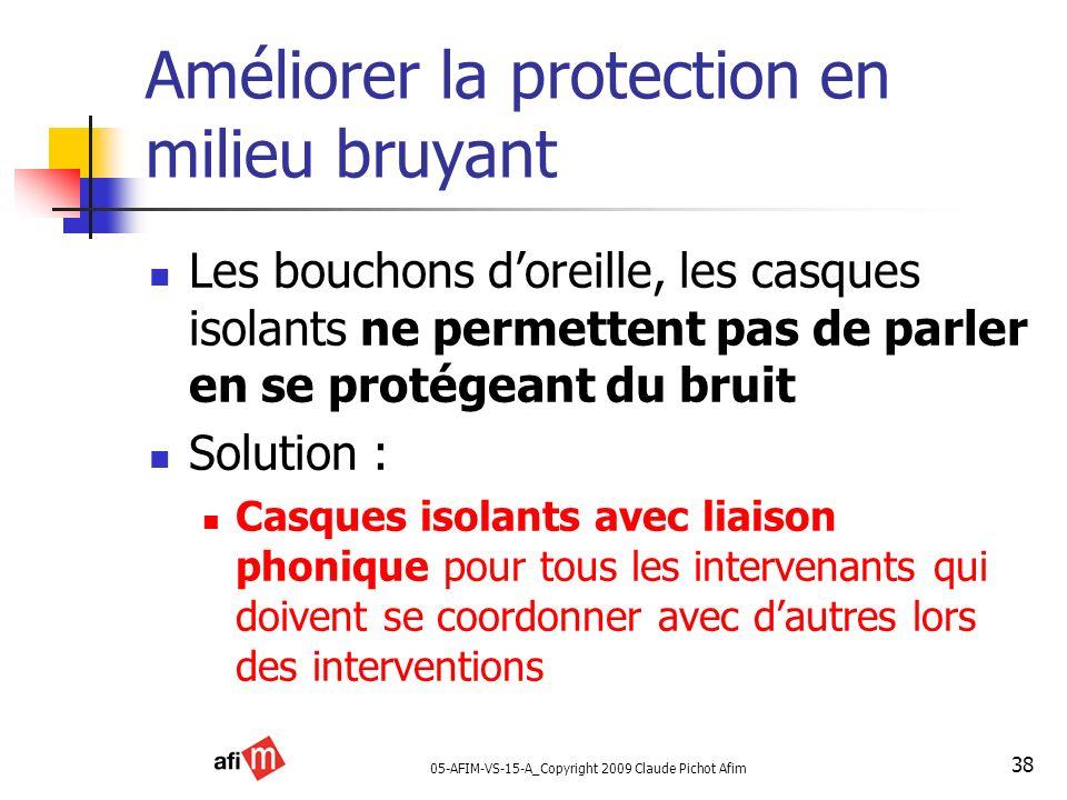 05-AFIM-VS-15-A_Copyright 2009 Claude Pichot Afim 38 Améliorer la protection en milieu bruyant Les bouchons doreille, les casques isolants ne permette
