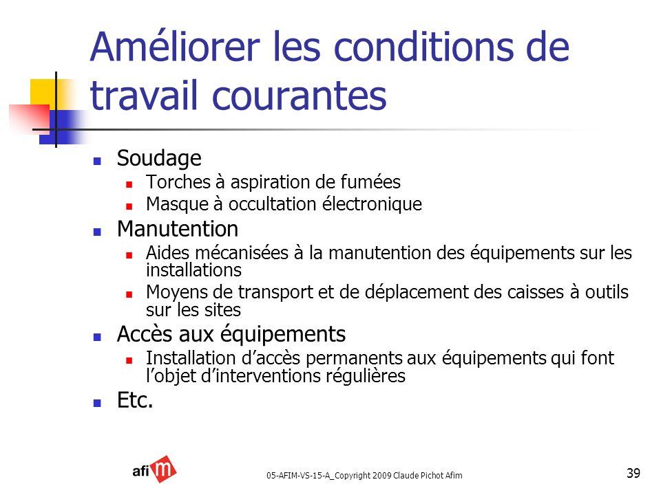 05-AFIM-VS-15-A_Copyright 2009 Claude Pichot Afim 39 Améliorer les conditions de travail courantes Soudage Torches à aspiration de fumées Masque à occ
