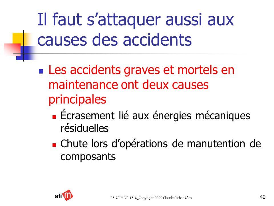 05-AFIM-VS-15-A_Copyright 2009 Claude Pichot Afim 40 Il faut sattaquer aussi aux causes des accidents Les accidents graves et mortels en maintenance o