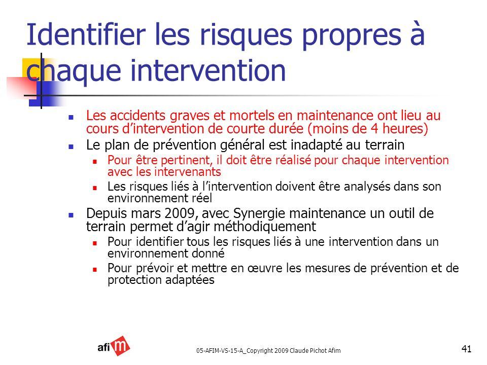 05-AFIM-VS-15-A_Copyright 2009 Claude Pichot Afim 41 Identifier les risques propres à chaque intervention Les accidents graves et mortels en maintenan