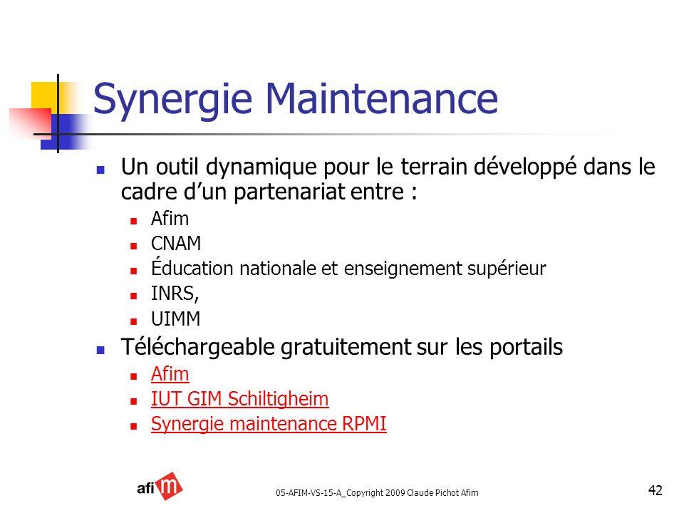 05-AFIM-VS-15-A_Copyright 2009 Claude Pichot Afim 42 Synergie Maintenance Un outil dynamique pour le terrain développé dans le cadre dun partenariat e