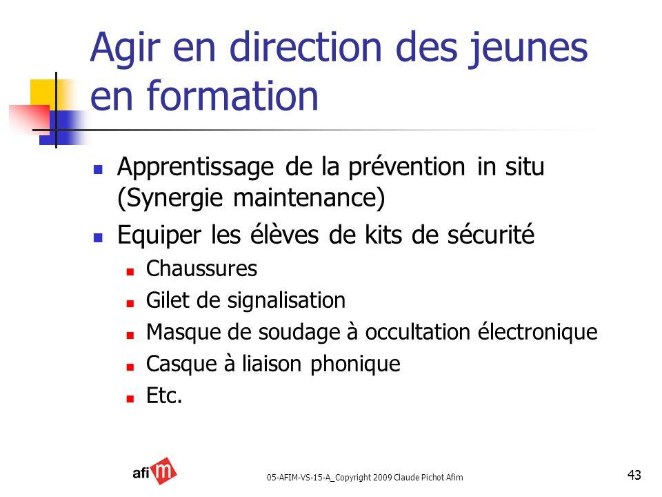 05-AFIM-VS-15-A_Copyright 2009 Claude Pichot Afim 43 Agir en direction des jeunes en formation Apprentissage de la prévention in situ (Synergie mainte