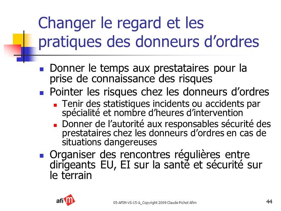 05-AFIM-VS-15-A_Copyright 2009 Claude Pichot Afim 44 Changer le regard et les pratiques des donneurs dordres Donner le temps aux prestataires pour la