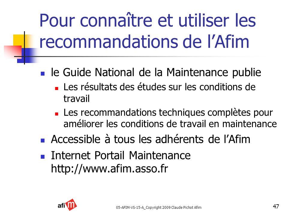 05-AFIM-VS-15-A_Copyright 2009 Claude Pichot Afim 47 Pour connaître et utiliser les recommandations de lAfim le Guide National de la Maintenance publi