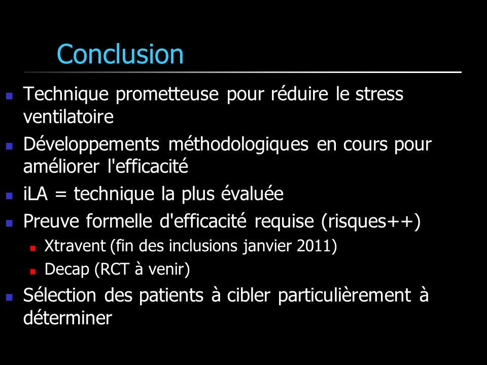 Conclusion Technique prometteuse pour réduire le stress ventilatoire Développements méthodologiques en cours pour améliorer l'efficacité iLA = techniq