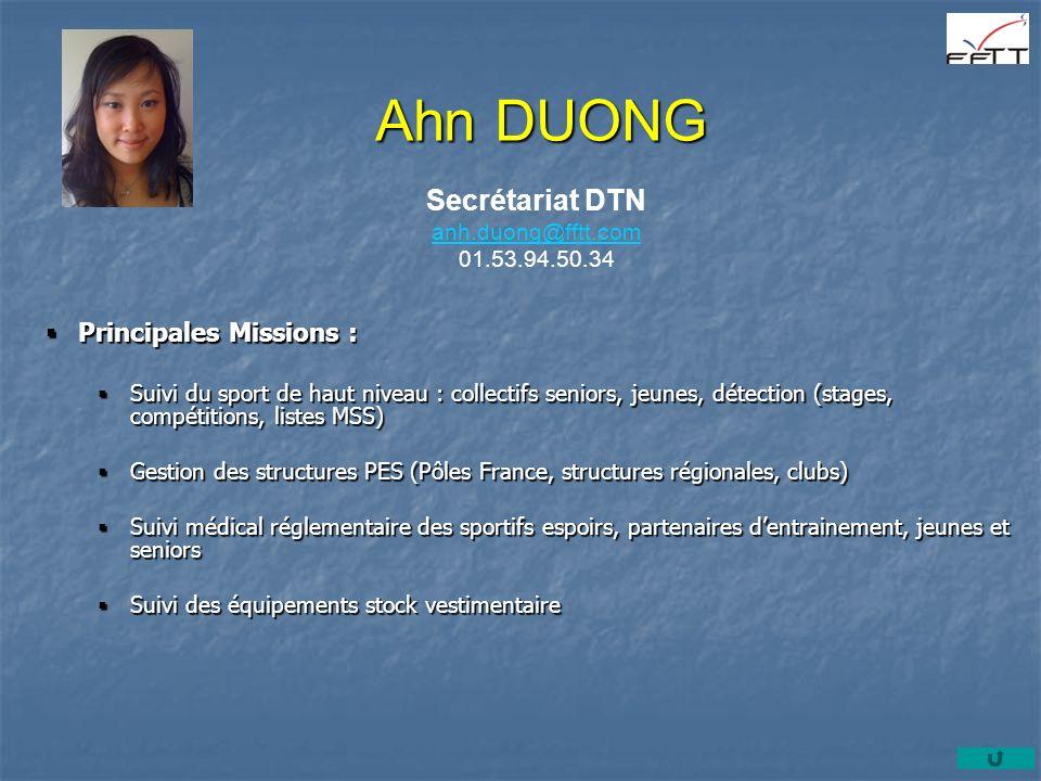 Ahn DUONG Secrétariat DTN anh.duong@fftt.com anh.duong@fftt.com 01.53.94.50.34 Principales Missions : Principales Missions : Suivi du sport de haut ni