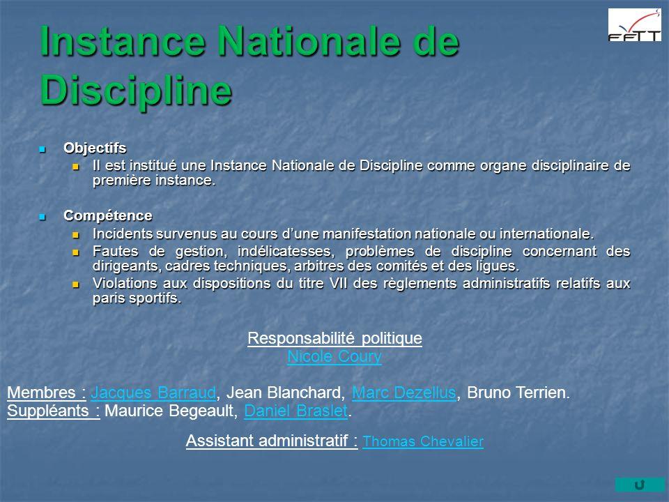 Objectifs Objectifs Il est institué une Instance Nationale de Discipline comme organe disciplinaire de première instance.