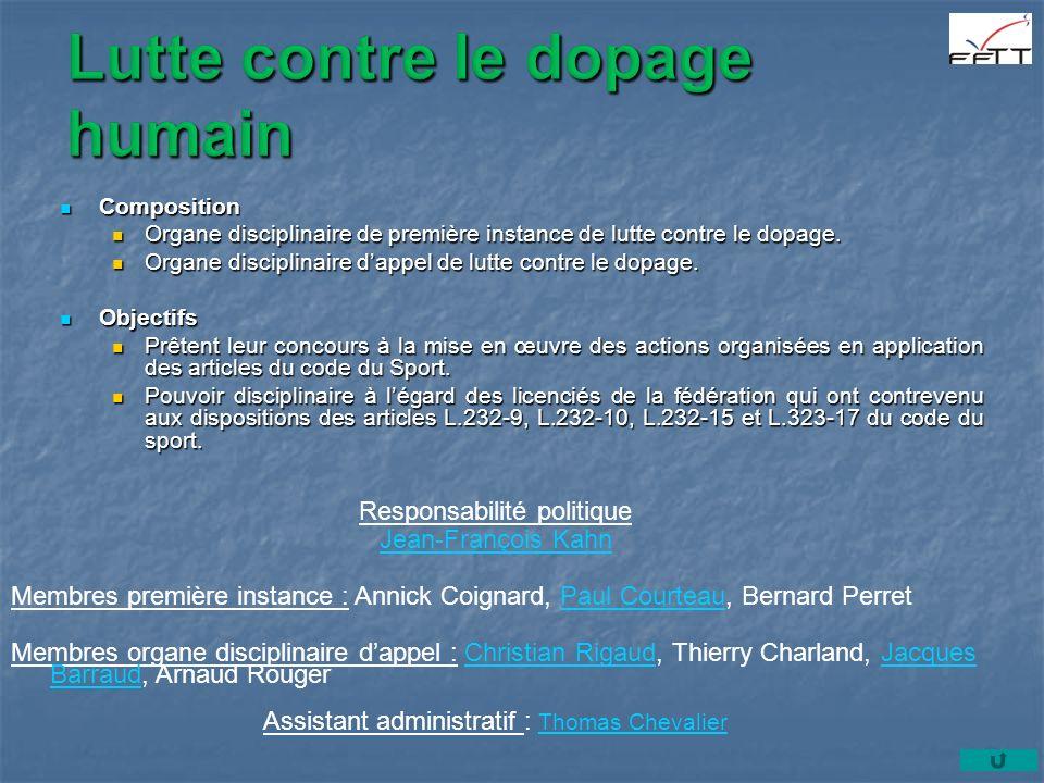 Composition Composition Organe disciplinaire de première instance de lutte contre le dopage.