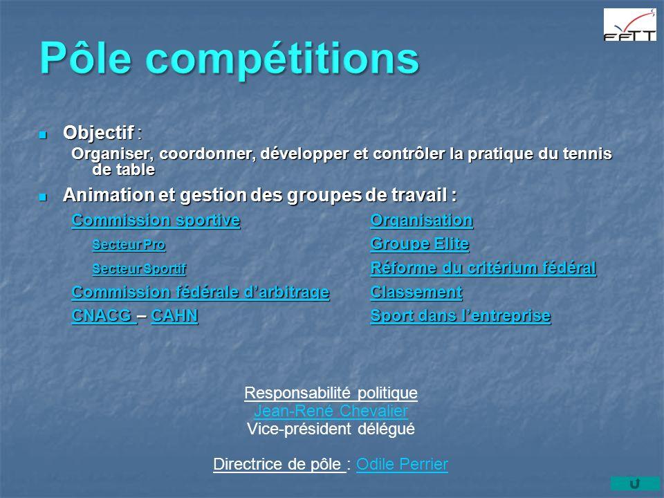 Objectif : Objectif : Organiser, coordonner, développer et contrôler la pratique du tennis de table Animation et gestion des groupes de travail : Anim