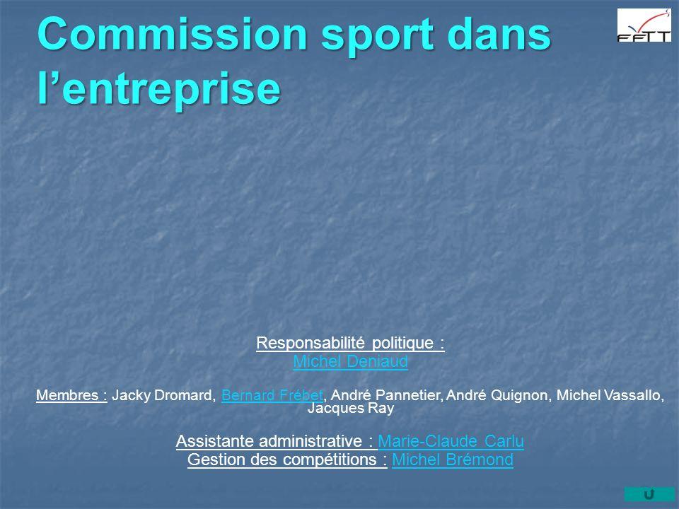 Commission sport dans lentreprise Responsabilité politique : Michel Deniaud Membres : Jacky Dromard, Bernard Frébet, André Pannetier, André Quignon, M
