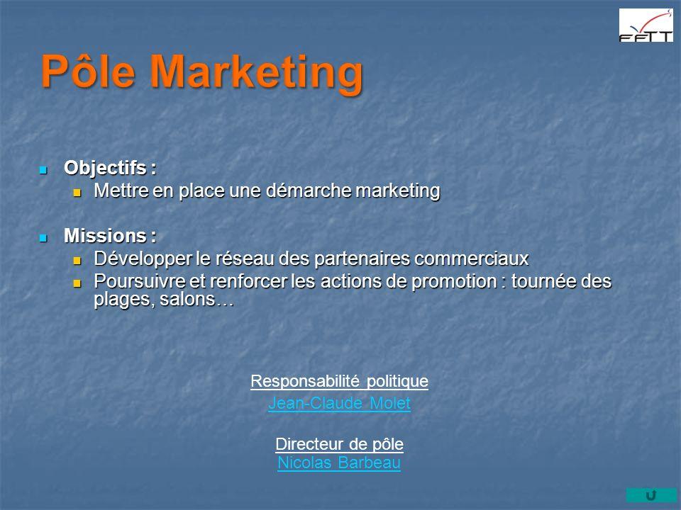 Objectifs : Objectifs : Mettre en place une démarche marketing Mettre en place une démarche marketing Missions : Missions : Développer le réseau des p