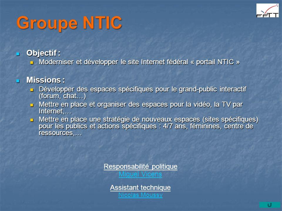 Objectif : Objectif : Moderniser et développer le site Internet fédéral « portail NTIC » Moderniser et développer le site Internet fédéral « portail N
