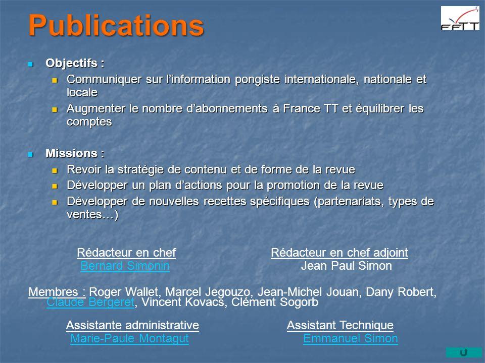 Objectifs : Objectifs : Communiquer sur linformation pongiste internationale, nationale et locale Communiquer sur linformation pongiste internationale