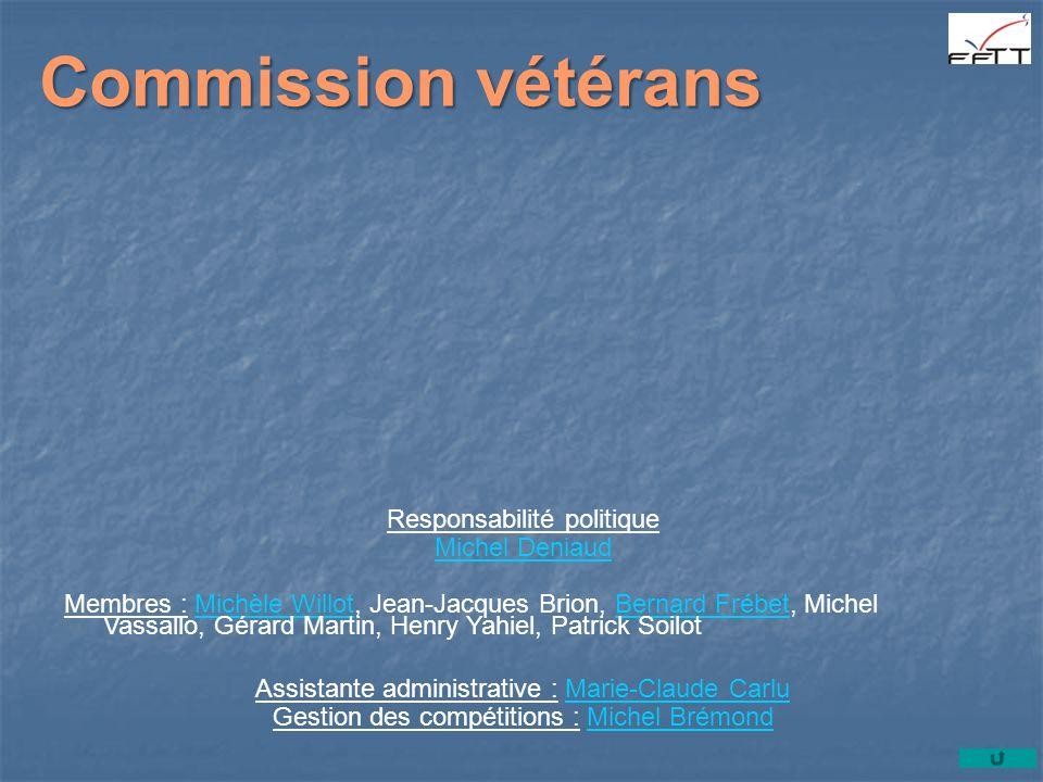Commission vétérans Responsabilité politique Michel Deniaud Membres : Michèle Willot, Jean-Jacques Brion, Bernard Frébet, Michel Vassallo, Gérard Mart