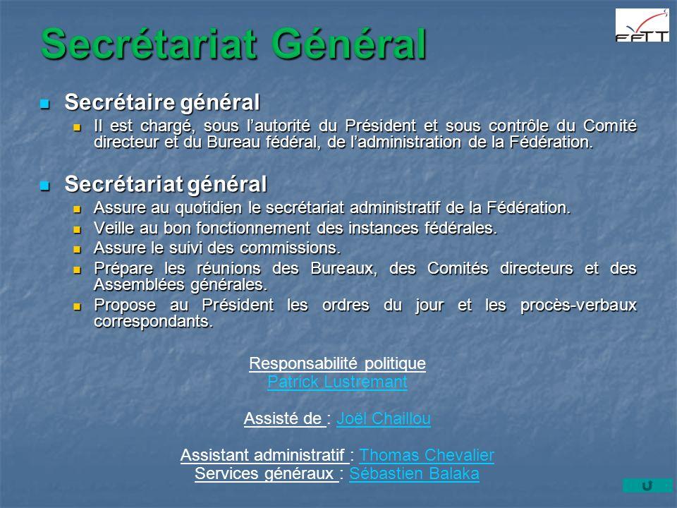 Secrétaire général Secrétaire général Il est chargé, sous lautorité du Président et sous contrôle du Comité directeur et du Bureau fédéral, de ladmini