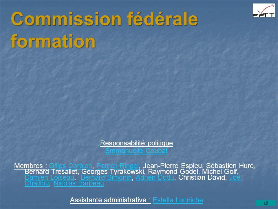 Commission fédérale formation Responsabilité politique Emmanuelle Coubat Membres : Gilles Corbion, Patrick Ringel, Jean-Pierre Espieu, Sébastien Huré,