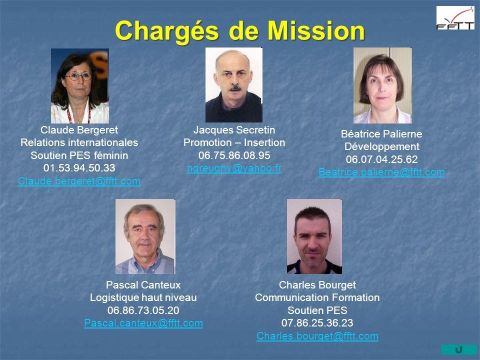 Chargés de Mission Claude Bergeret Relations internationales Soutien PES féminin 01.53.94.50.33 Claude.bergeret@fftt.com Jacques Secretin Promotion –
