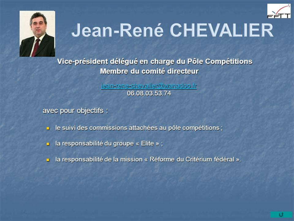 Vice-président délégué en charge du Pôle Compétitions Membre du comité directeur jean-rene-chevalier@wanadoo.fr jean-rene-chevalier@wanadoo.fr jean-re