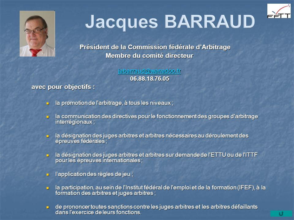 Président de la Commission fédérale dArbitrage Membre du comité directeur jabarraud@wanadoo.fr 06.88.18.76.05 avec pour objectifs : la promotion de l'