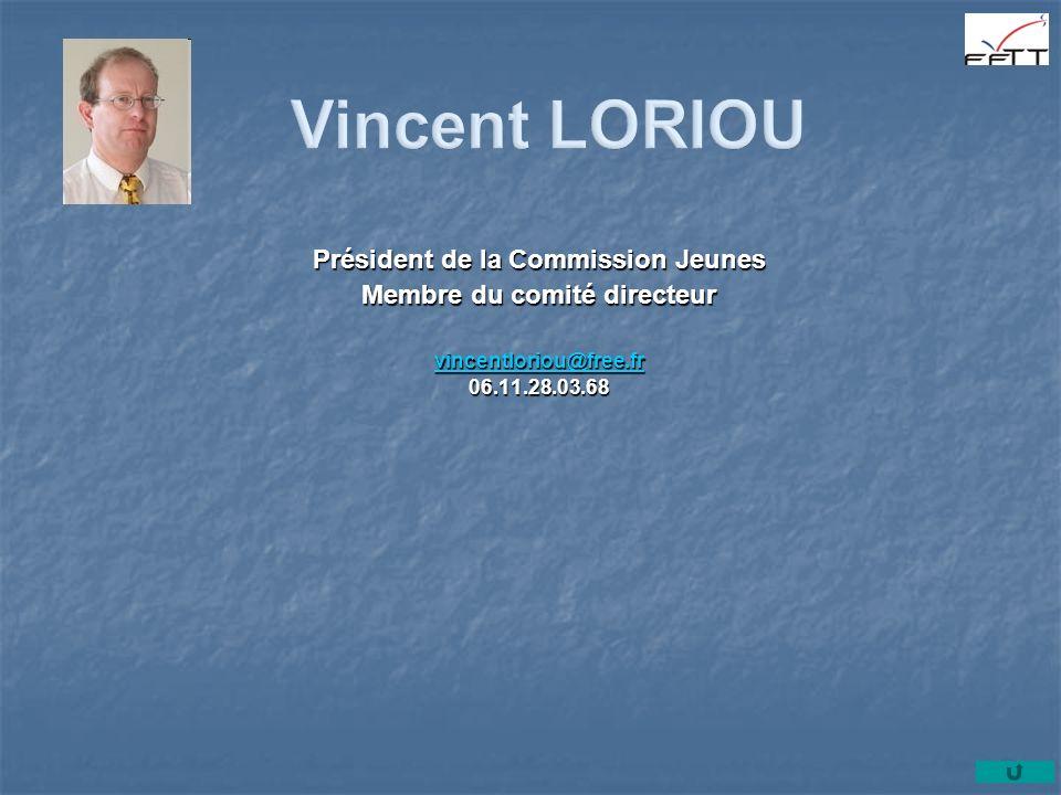 Président de la Commission Jeunes Membre du comité directeur vincentloriou@free.fr 06.11.28.03.68
