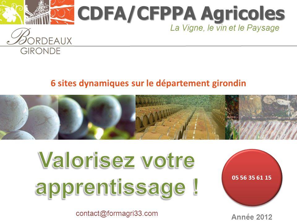 CDFA/CFPPA Agricoles La Vigne, le vin et le Paysage Année 2012 6 sites dynamiques sur le département girondin contact@formagri33.com 05 56 35 61 15