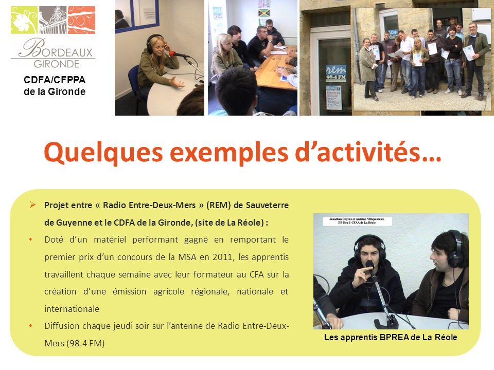 CDFA/CFPPA de la Gironde Quelques exemples dactivités… Projet entre « Radio Entre-Deux-Mers » (REM) de Sauveterre de Guyenne et le CDFA de la Gironde,