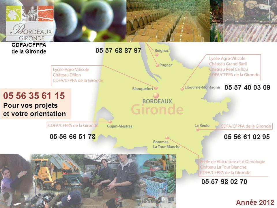 Année 2012 05 56 35 61 15 Pour vos projets et votre orientation CDFA/CFPPA de la Gironde 05 57 68 87 97 05 57 40 03 09 05 56 61 02 95 05 57 98 02 70 0