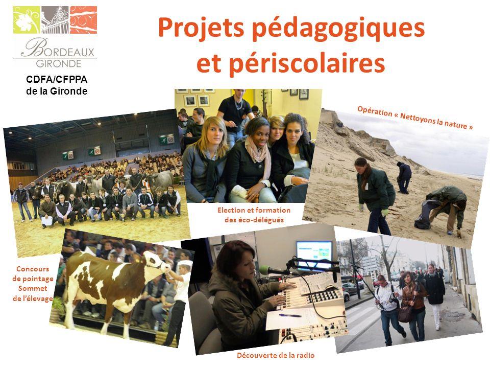 CDFA/CFPPA de la Gironde Concours de pointage Sommet de lélevage Election et formation des éco-délégués Opération « Nettoyons la nature » Projets péda