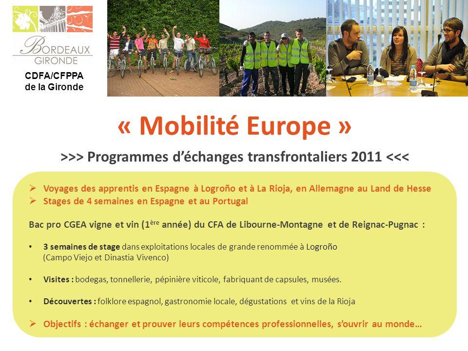 CDFA/CFPPA de la Gironde « Mobilité Europe » Voyages des apprentis en Espagne à Logroño et à La Rioja, en Allemagne au Land de Hesse Stages de 4 semai