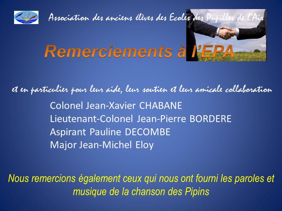 et en particulier pour leur aide, leur soutien et leur amicale collaboration Colonel Jean-Xavier CHABANE Lieutenant-Colonel Jean-Pierre BORDERE Aspira