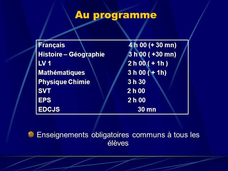 Au programme Enseignements obligatoires communs à tous les élèves Français 4 h 00 (+ 30 mn) Histoire – Géographie 3 h 00 ( +30 mn) LV 1 2 h 00 ( + 1h ) Mathématiques 3 h 00 ( + 1h) Physique Chimie 3 h 30 SVT 2 h 00 EPS 2 h 00 EDCJS 30 mn