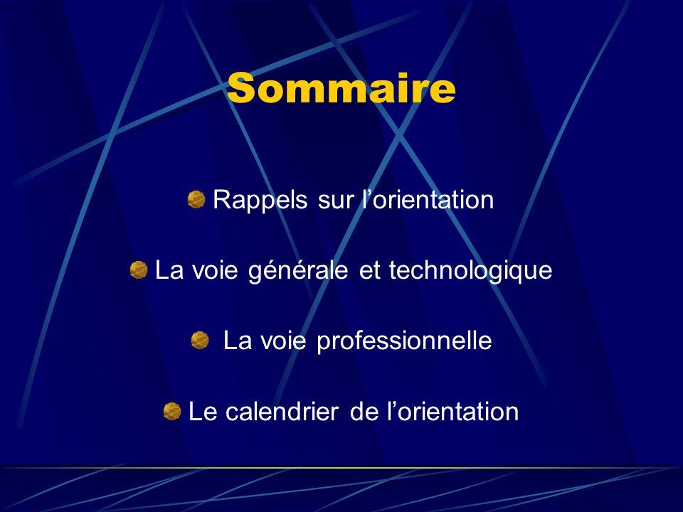 Sommaire Rappels sur lorientation La voie générale et technologique La voie professionnelle Le calendrier de lorientation