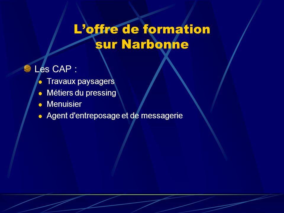 Loffre de formation sur Narbonne Les CAP : Travaux paysagers Métiers du pressing Menuisier Agent d entreposage et de messagerie