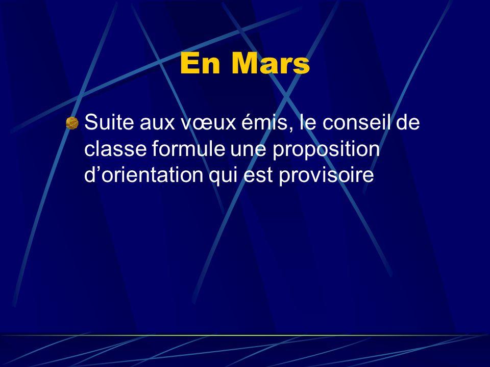En Mars Suite aux vœux émis, le conseil de classe formule une proposition dorientation qui est provisoire