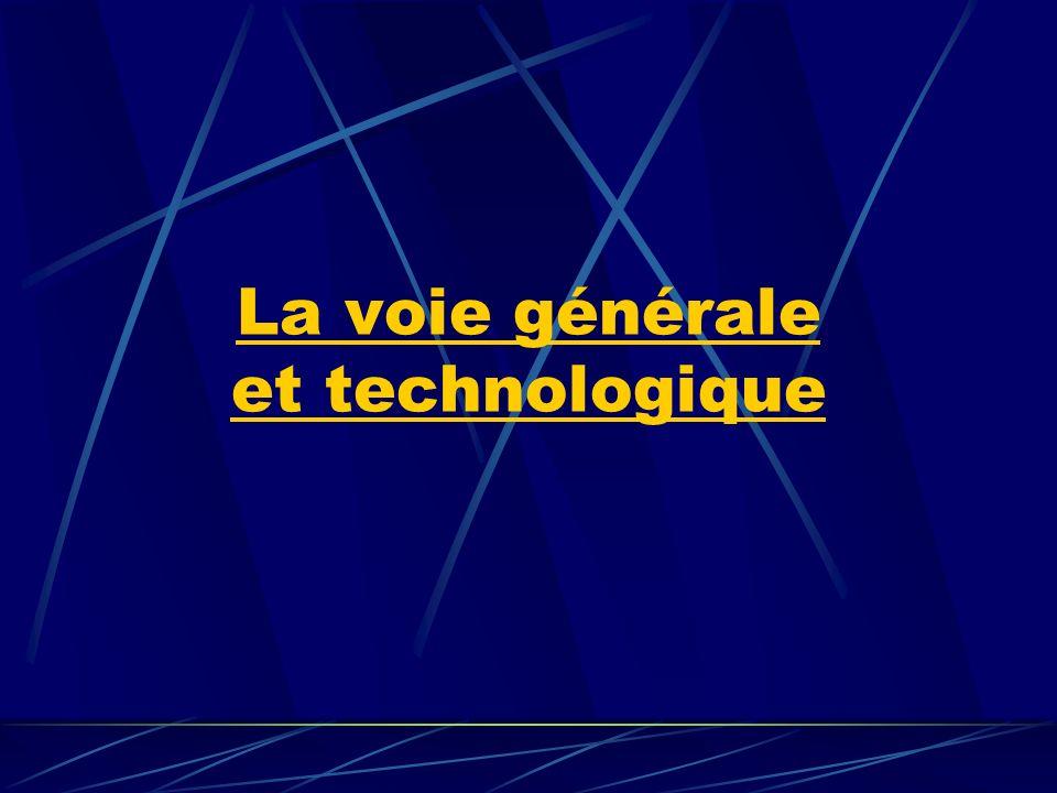 Cette voie conduit aux bacs généraux et aux bacs technologiques : Le bac général existe dans trois séries : économique et sociale ( ES ), littéraire ( L ), et scientifique ( S ) Le bac technologique propose sept séries : Sciences et technologies de lagronomie et du vivant ( STAV ) Sciences et technologies de la gestion ( STG ) Sciences et technologies de laboratoire ( STL ) Sciences et technologies industrielle ( STI ) Sciences et technologies de la santé et du social ( ST2S ) Techniques de la musique et de la danse ( TMD ) Hôtellerie