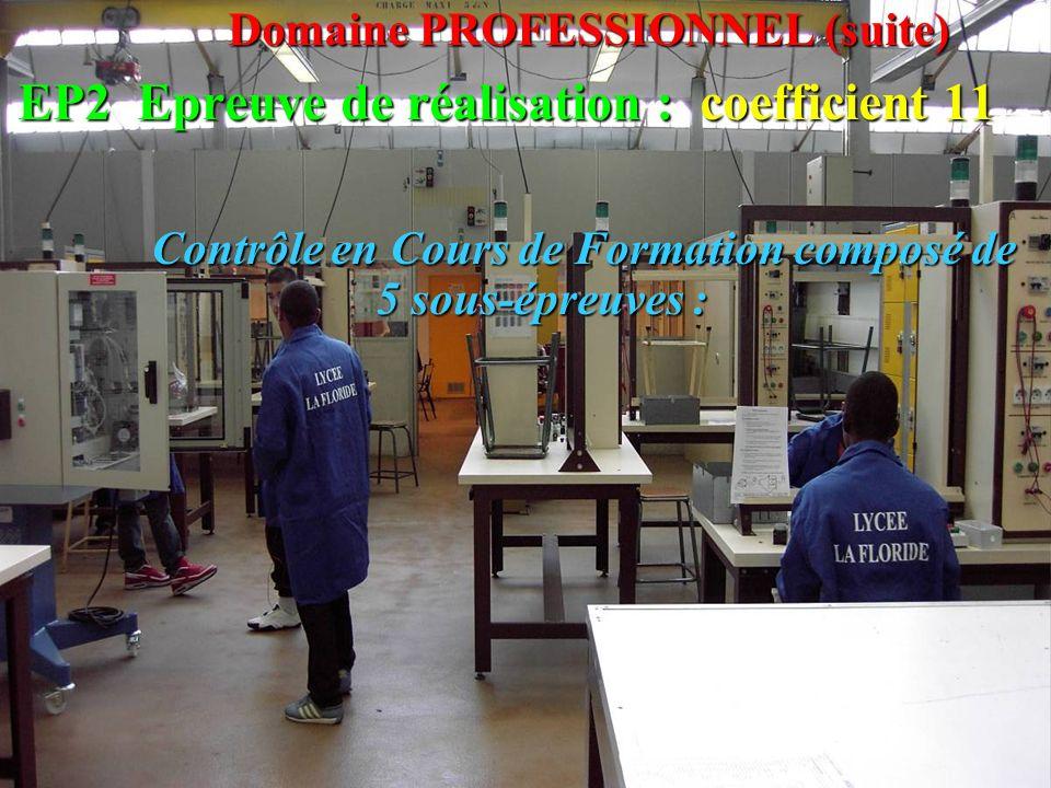 Domaine PROFESSIONNEL (suite) EP2 Epreuve de réalisation : coefficient 11 Contrôle en Cours de Formation composé de 5 sous-épreuves : Contrôle en Cour