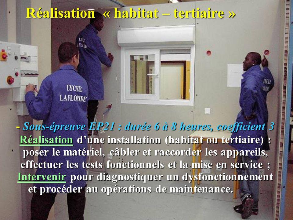 Réalisation « habitat – tertiaire » - Sous-épreuve EP21 : durée 6 à 8 heures, coefficient 3 Réalisation dune installation (habitat ou tertiaire) : pos