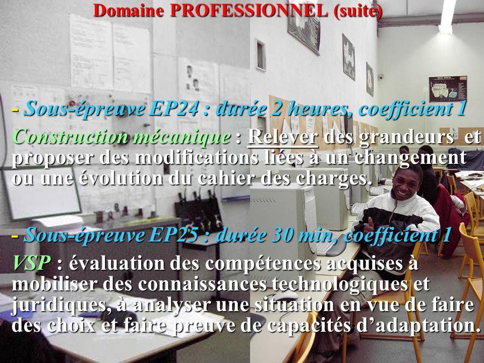 Domaine PROFESSIONNEL (suite) - Sous-épreuve EP24 : durée 2 heures, coefficient 1 Construction mécanique : Relever des grandeurs et proposer des modif