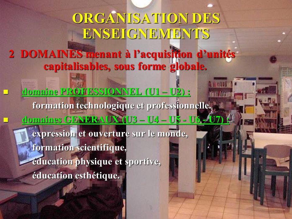 ORGANISATION DES ENSEIGNEMENTS 2 DOMAINES menant à lacquisition dunités capitalisables, sous forme globale. ndomaine PROFESSIONNEL (U1 – U2) : formati