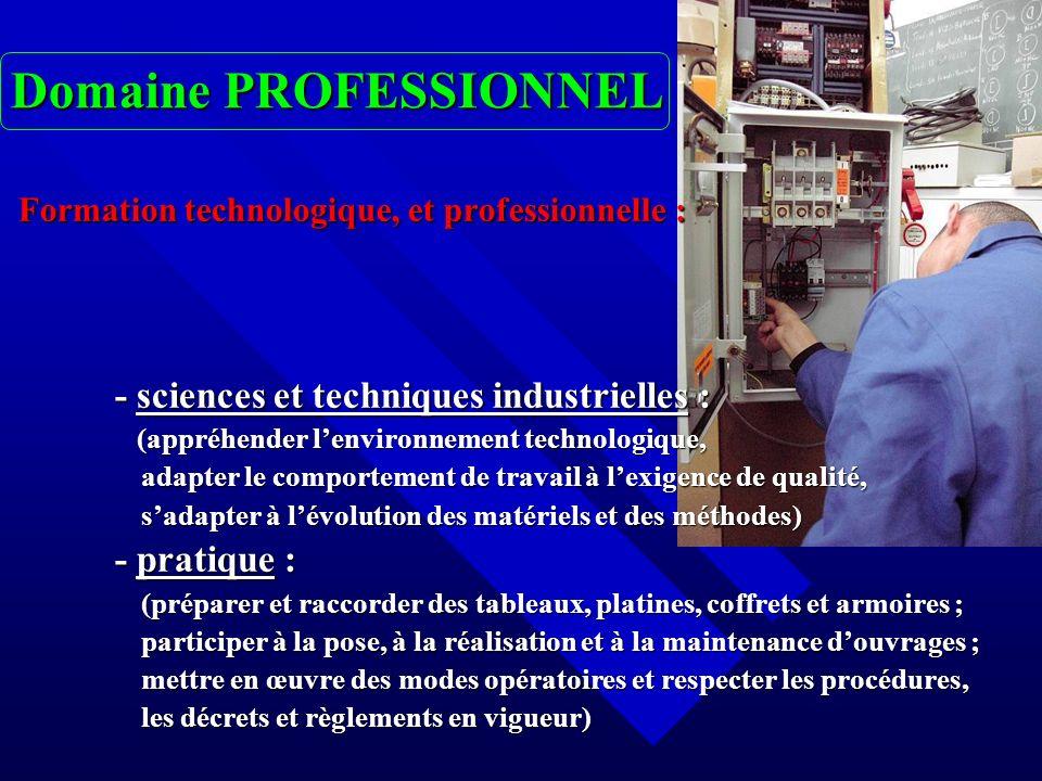 Domaine PROFESSIONNEL Formation technologique, et professionnelle : Formation technologique, et professionnelle : - sciences et techniques industriell