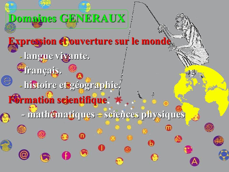 Domaines GENERAUX Expression et ouverture sur le monde Expression et ouverture sur le monde - langue vivante. - français. - histoire et géographie. Fo